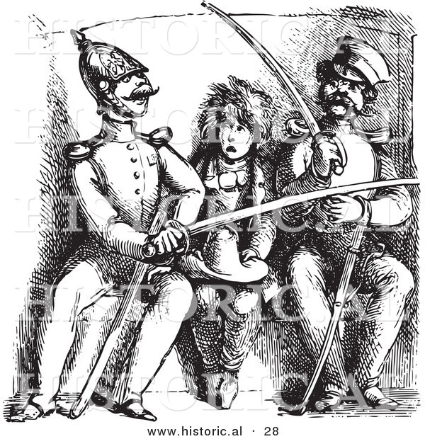 Historical Vector Illustration of a Boy Watching Soldiers Compare Swords - Black and White Version