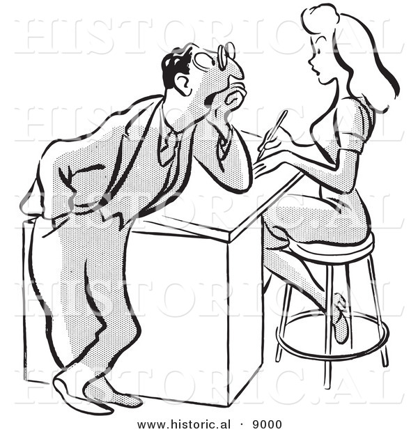 Historical Vector Illustration of a Cartoon Businessman Staring at a Pretty Girl Working at a Desk - Black and White Outlined Version