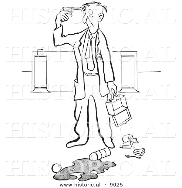 Historical Vector Illustration of a Cartoon Elderly Man Pointing a Gun to His Head After Spilling His Lunch at Work - Black and White Outlined Version