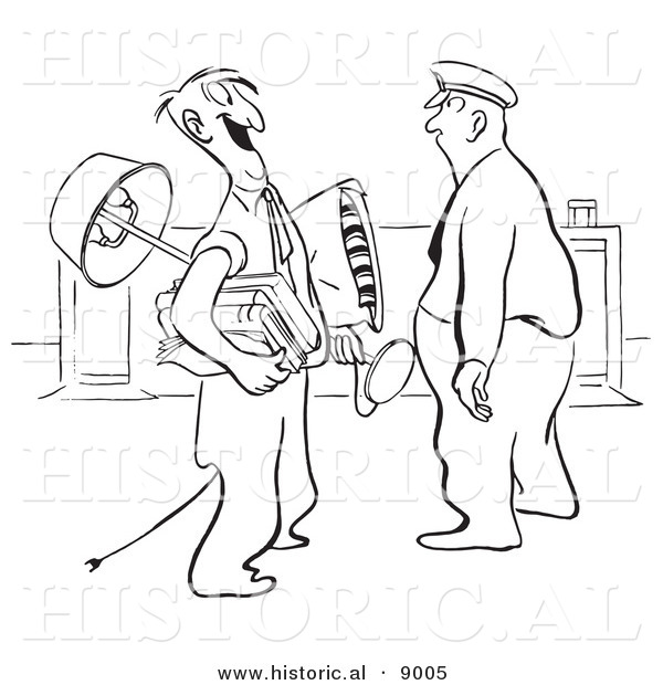 Historical Vector Illustration of a Cartoon Guard Staring at a Happy Man Carrying His Office Belongings - Black and White Outlined Version