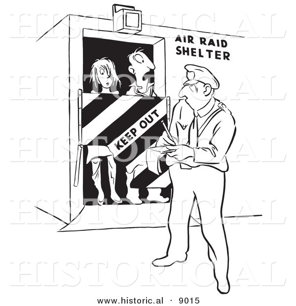 Historical Vector Illustration of a Cartoon Officer Writing Tickets to Trespassers in an Air Raid Shelter - Black and White Outlined Version