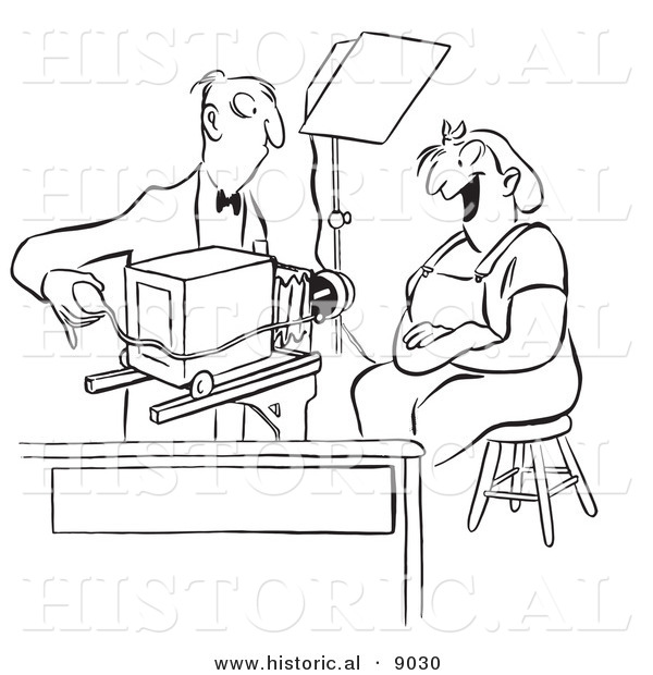 Historical Vector Illustration of a Cartoon Photographer Photographing a Happy Female Worker with an Old Fashioned Camera - Black and White Outlined Version