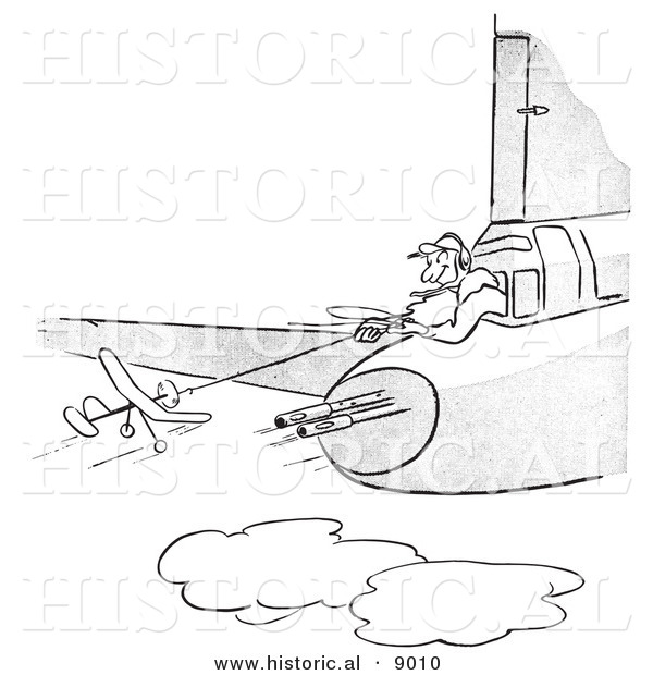 Historical Vector Illustration of a Cartoon Pilot Flying a Toy Plane from a Military Airplane with Guns - Black and White Outlined Version