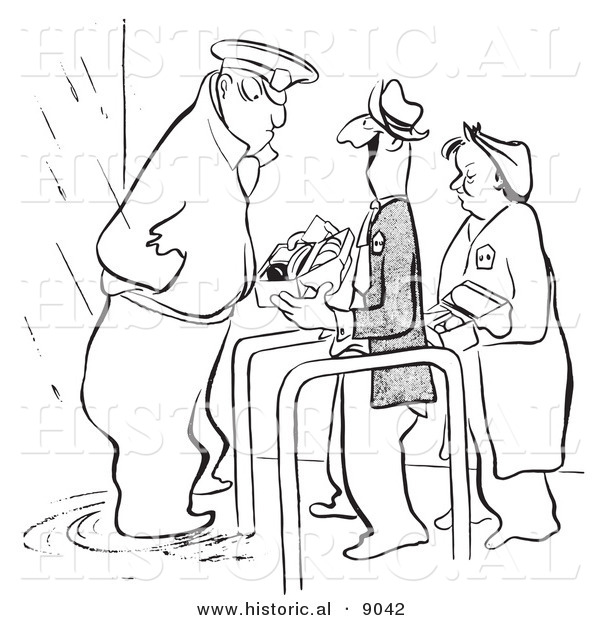 Historical Vector Illustration of a Cartoon Security Guard Inspecting a Happy Person's Lunch Box at an Entrance - Black and White Outlined Version