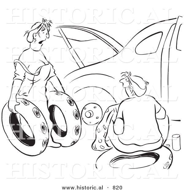 Historical Vector Illustration of a Cartoon Wife Trying to Help Her Husband Fix a Car with Flat Tires - Black and White Outlined Version