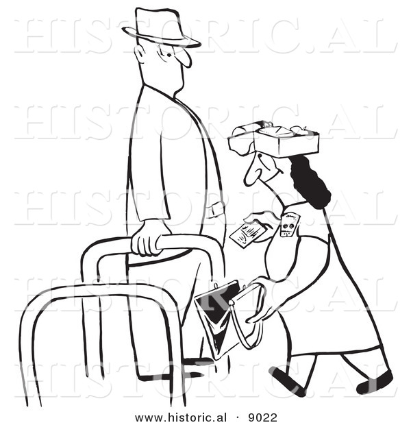 Historical Vector Illustration of a Cartoon Woman Walking Through a Checkpoint with Her Belongings Opened for an Inspector - Black and White Outlined Version