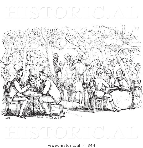 Historical Vector Illustration of a Crowd of People at a Garden Cafe - Black and White Version