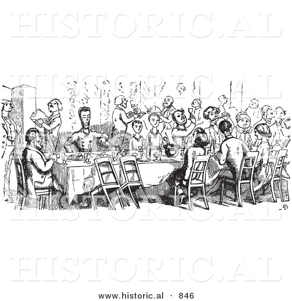 Historical Vector Illustration of a Crowd of People Dining at a Table - Black and White Version
