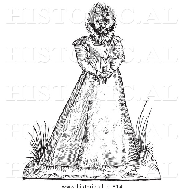 Historical Vector Illustration of a Fantasy Hairy Woman Maphoon Creature - Black and White Version
