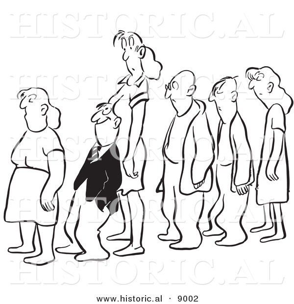 Historical Vector Illustration of a Happy Cartoon Employee Invading a Woman's Space While Standing in Line - Black and White Outlined Version