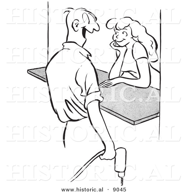Historical Vector Illustration of a Happy Cartoon Male Worker Flirting with an Attractive Girl Behind a Counter - Black and White Outlined Version