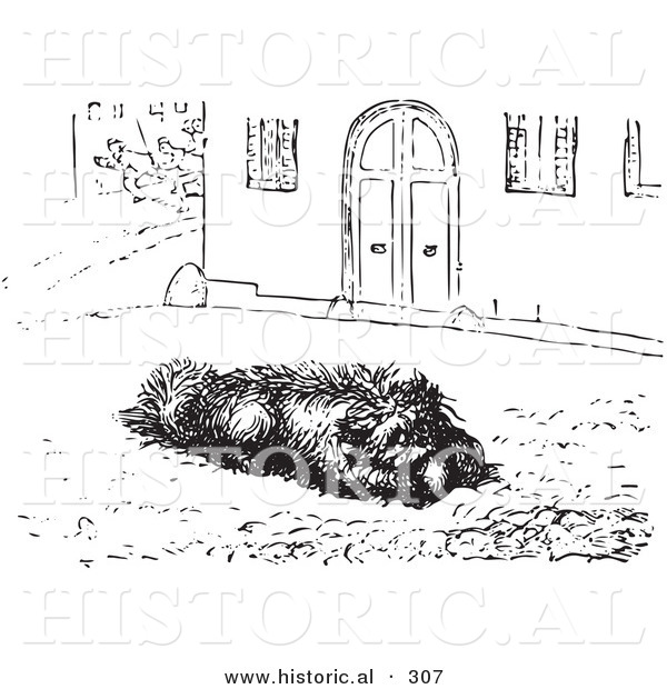 Historical Vector Illustration of a Happy Dog Eating Sausage - Black and White Version