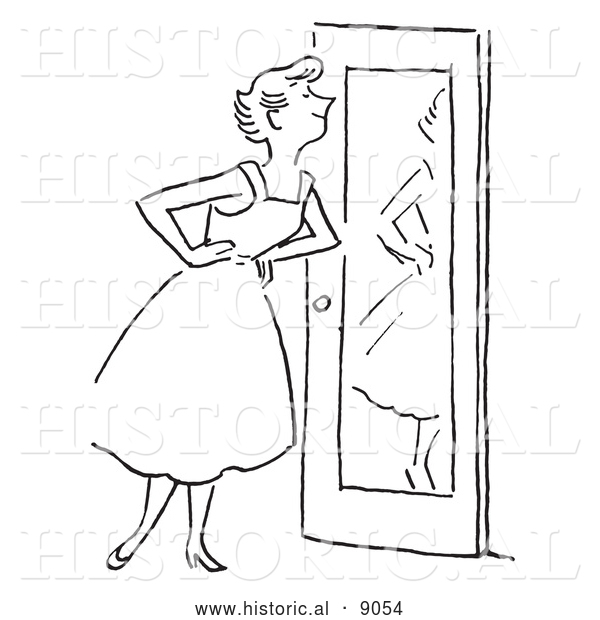 Historical Vector Illustration of a Happy Girl Smiling at Herself in Front of a Mirror - Black and White