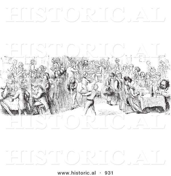 Historical Vector Illustration of a Hotel Diner Filled with Hungry Customers - Black and White Version