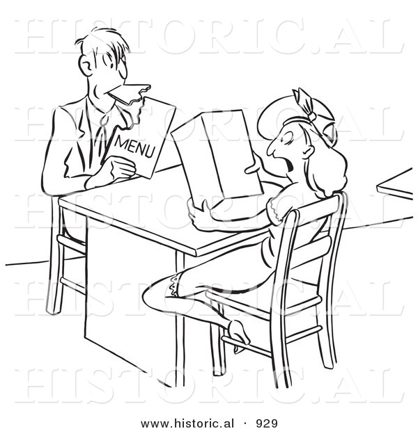 Historical Vector Illustration of a Hungry Cartoon Man Eating the Menu While His Shocked Lady Friend Watches - Black and White Version