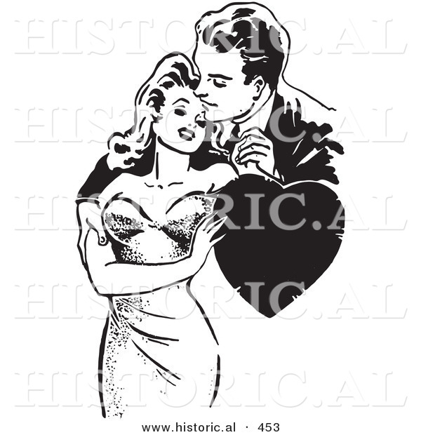 Historical Vector Illustration of a Loving Retro Couple Embracing with a Love Heart - Black and White Version