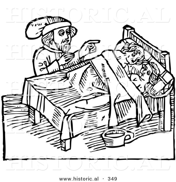 Historical Vector Illustration of a Man Supervising a Defloration Rite of Children - Black and White Version