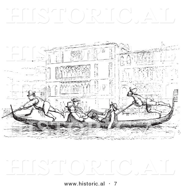 Historical Vector Illustration of a People Riding in a Gondola on the Grand Canal - Black and White Version