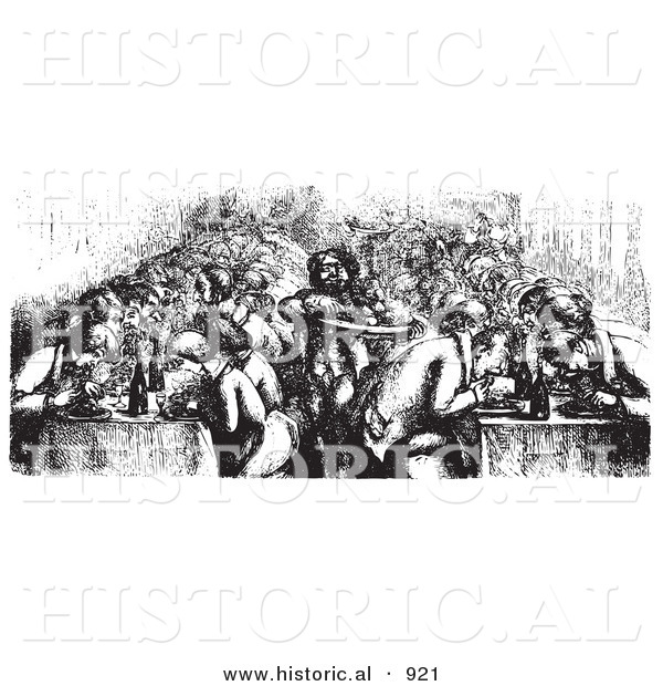 Historical Vector Illustration of a Restaurant Full of People Dining on the Rhine Boat - Black and White Version