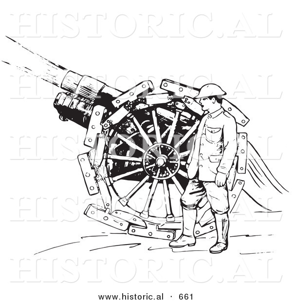 Historical Vector Illustration of a Retro Navy Soldier Shooting a Siege Gun - Black and White Version Retro Navy Soldier Shooting a Siege Gun
