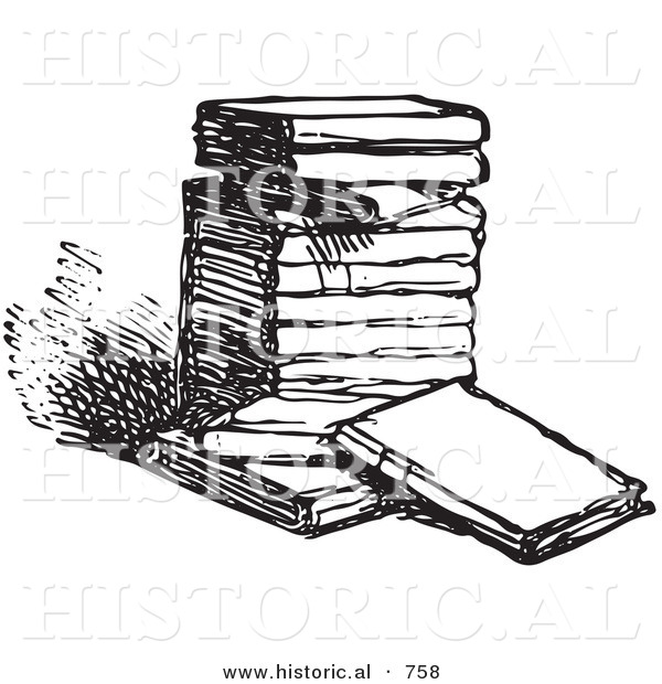 Historical Vector Illustration of a Stack of Old Books - Black and White Version