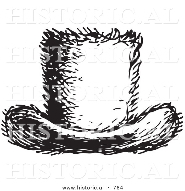 Historical Vector Illustration of a Top Hat - Black and White Version