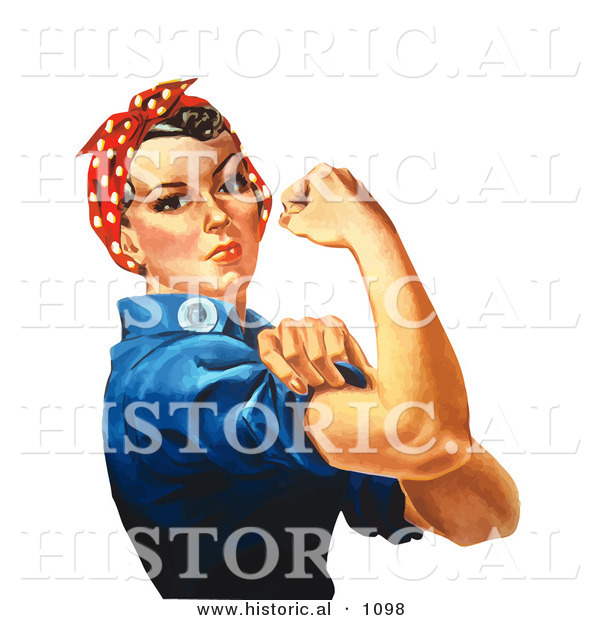 Historical Vector Illustration of a Tough Female Riveter Flexing Her Bicep