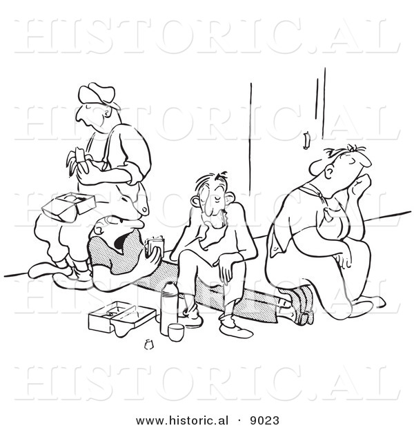 Historical Vector Illustration of a Unhappy Cartoon Workers Eating Lunch - Black and White Outlined Version