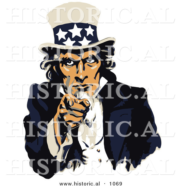 Historical Vector Illustration of a US Navy Recruiting Poster Featuring Uncle Sam Pointing at You with a Stern Look on His Face