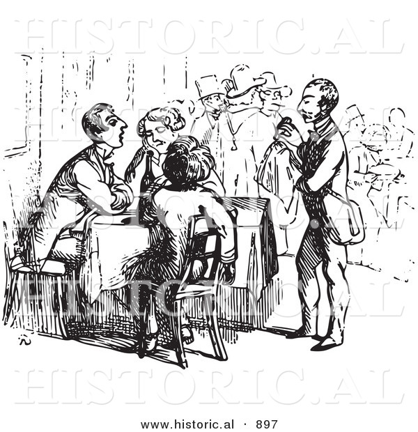 Historical Vector Illustration of a Waiter Assisting Tired Travelers - Black and White Version
