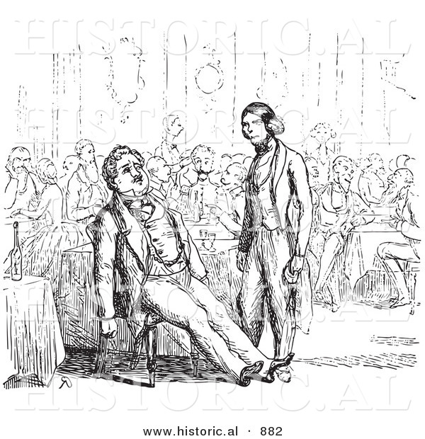 Historical Vector Illustration of a Waiter Standing and Staring at a Tired Customer Leaned Back in His Chair - Black and White Version