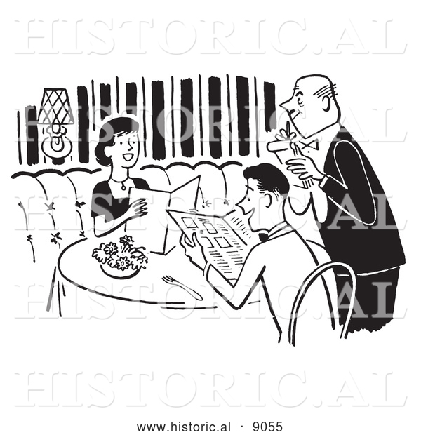 Historical Vector Illustration of a Young Couple Looking over a Menu While a Waiter Takes Their Order at a Restaurant - Black and White