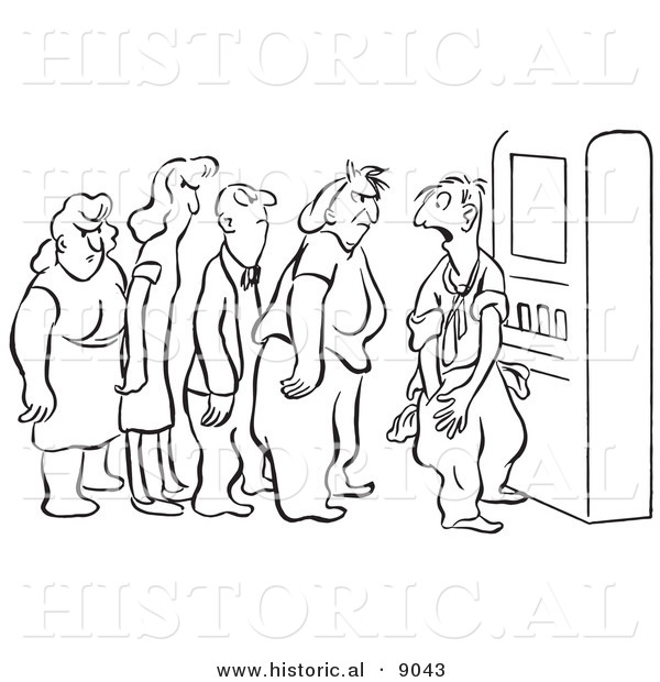 Historical Vector Illustration of an Embarrassed Cartoon Man Asking Angry Angry People Waiting in Line at a Vending Machine - Black and White Outlined Version