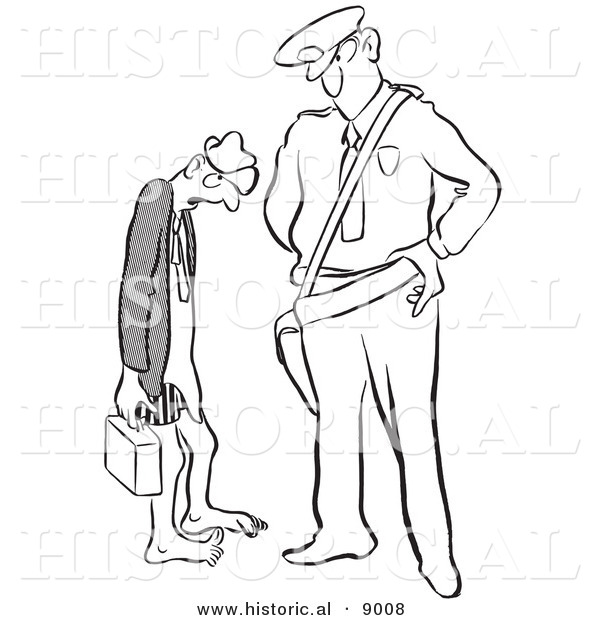 Historical Vector Illustration of an Intimidating Cartoon Police Officer Staring at an Embarrassed Man Who Forgot Pants to Put Pants on Before Leaving Home - Black and White Outlined Version