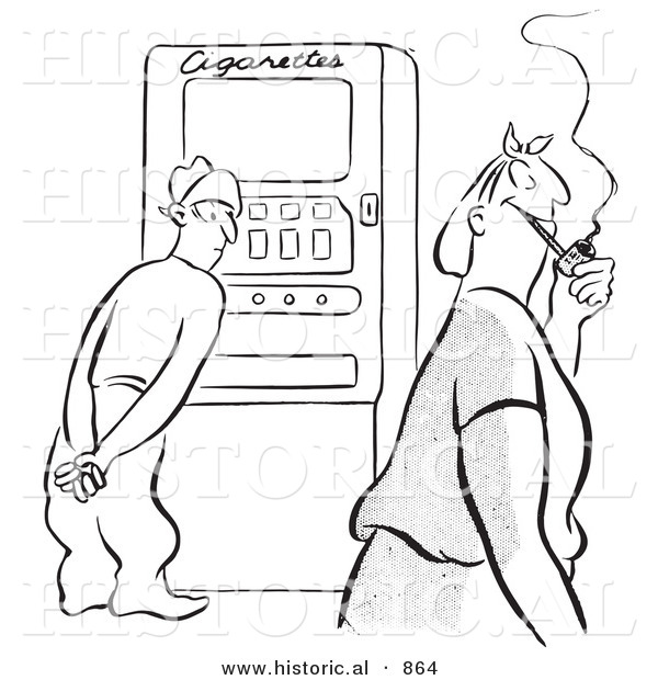 Historical Vector Illustration of an Undecided Cartoon Man Standing in Front of a Cigarette Machine While Watching a Happy Woman Walk by Smoking a Pipe - Black and White Outlined Version