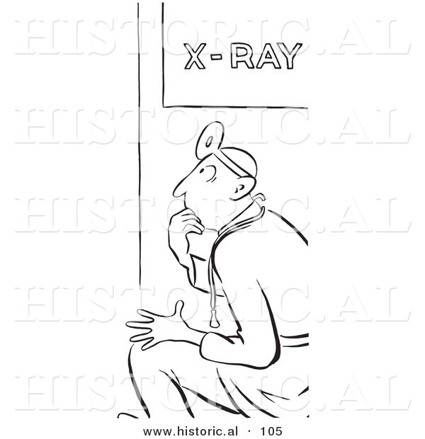 Historical Vector Illustration of an X Ray Doctor Sitting and Staring While Thinking - Black and White Outlined Version
