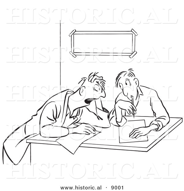 Historical Vector Illustration of Cartoon Businessmen Brainstorming - Black and White Outlined Version