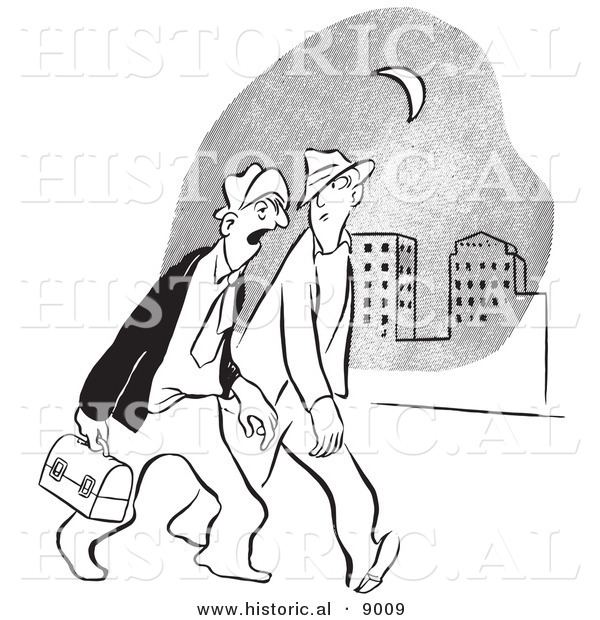 Historical Vector Illustration of Cartoon Men Walking Home from a Late Night of Work - Black and White Outlined Version