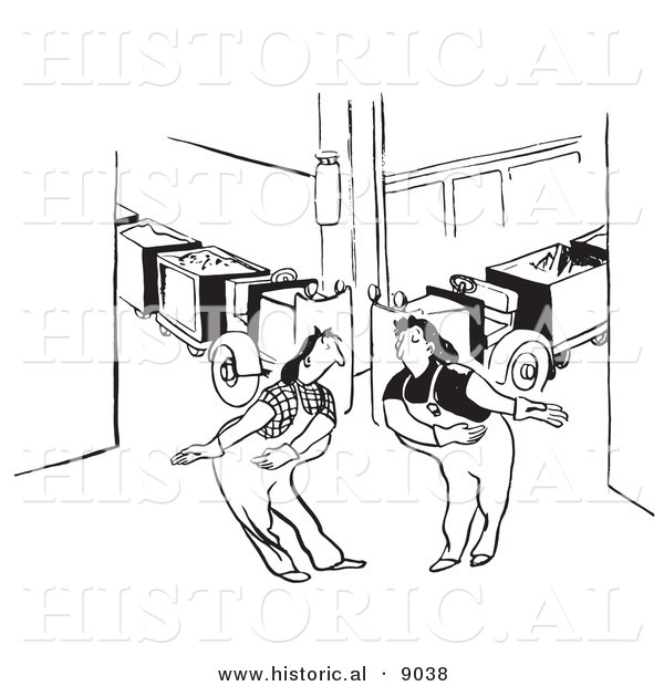 Historical Vector Illustration of Courteous Cartoon Female Factory Workers - Black and White Outlined Version