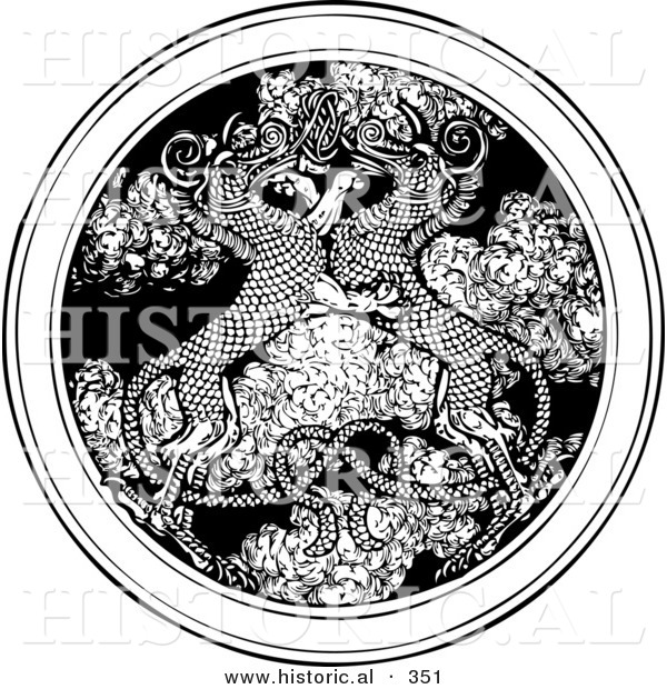 Historical Vector Illustration of Dragons Entwined over a Circle Medallion of Smoke - Black and White Version