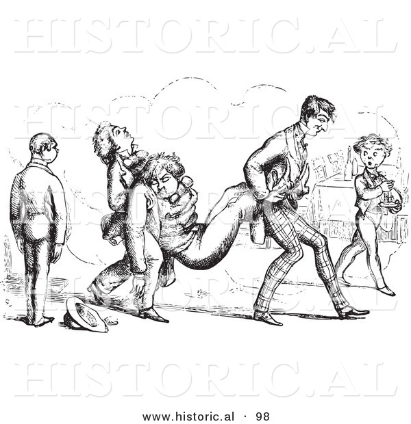 Historical Vector Illustration of Friends Carrying Their Passed out Friend - Black and White Version