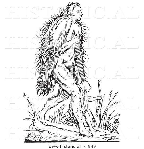 Historical Vector Illustration of Hairy Woman and Child Fantasy Creatures - Black and White Version