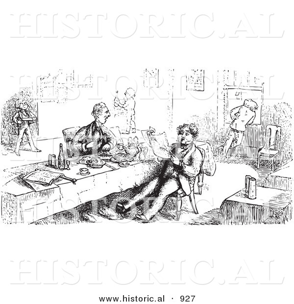 Historical Vector Illustration of Men Eating and Reading at a Restaurant - Black and White Version