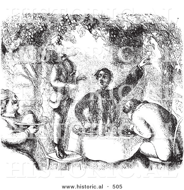 Historical Vector Illustration of Men Eating Grapes with Breakfast - Black and White Version
