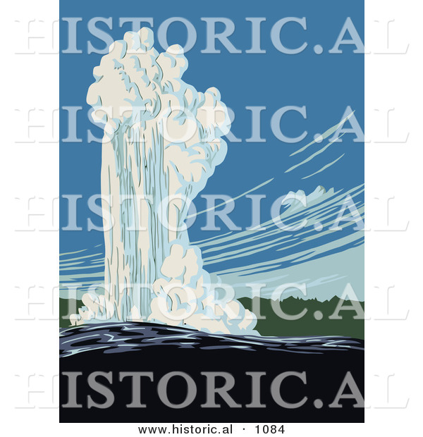 Historical Vector Illustration of Old Faithful in Action, Yellowstone National Park, Wyoming