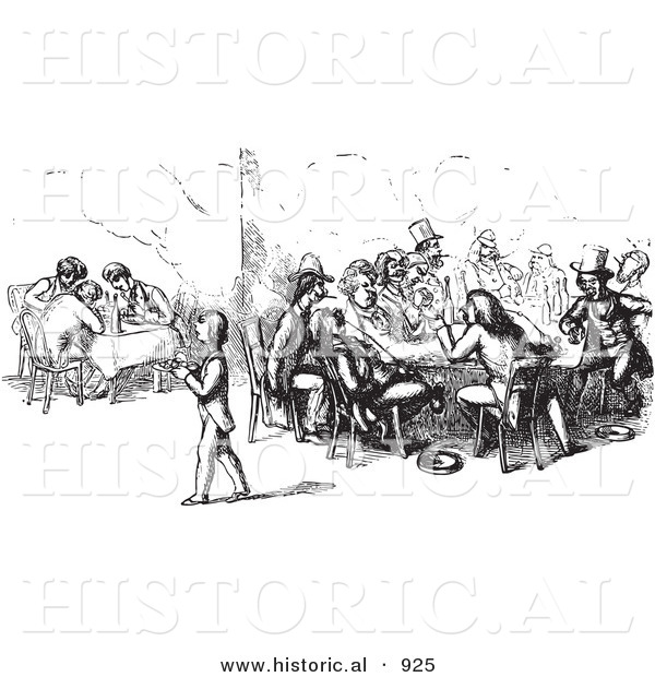 Historical Vector Illustration of People Dining and Chatting at a Restaurant - Black and White Version