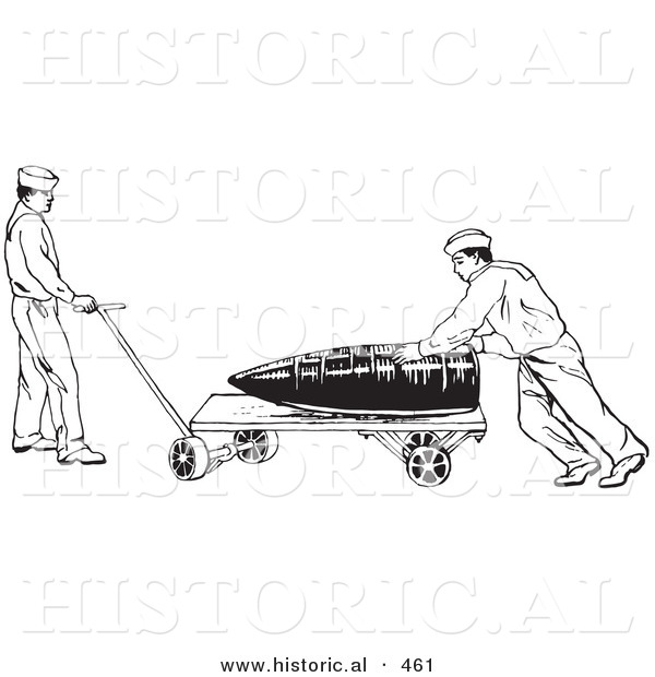 Historical Vector Illustration of Retro US Navy Soldiers Moving a Large Weapon - Black and White Version Retro US Navy Soldiers Moving a Large Weapon