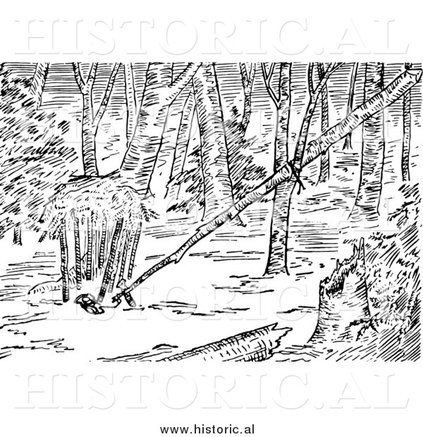 Illustration of a Balance Pole Animal Trap - Black and White