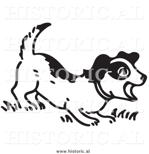 Illustration of a Barking Puppy - Black and White