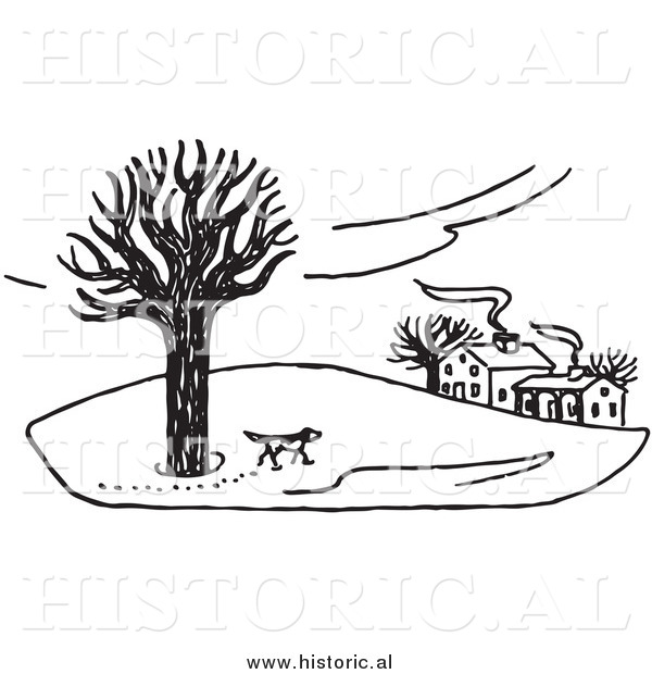 Illustration of a Dog Walking Around Property in the Winter - Black and White